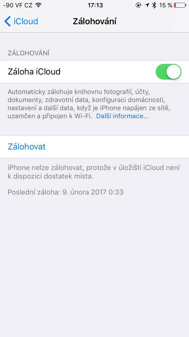 Záloha iPhone do iCloudu