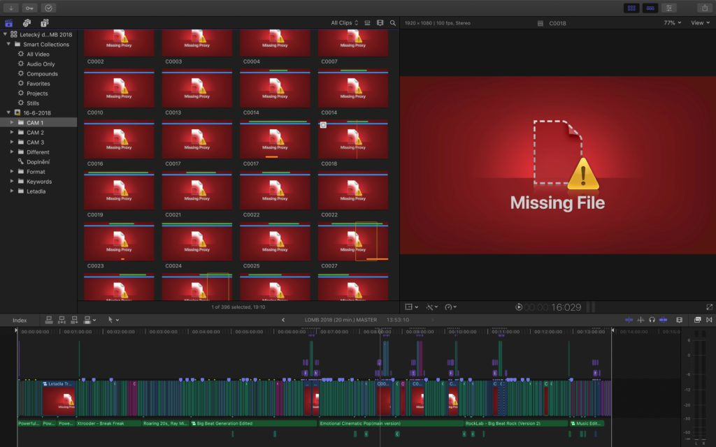 Final Cut Pro X - chybějící soubory